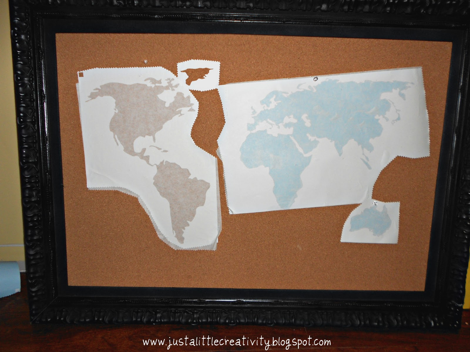 Travel map cork board ballard inspired knockoff just a little using my new silhouette cameo i cut a map of the world out of vinyl using the vinyl as a stencil i and my three year old helper painted in the gumiabroncs Choice Image