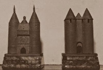 Primer juego de ajedrez, el Castillo de Graffe en Nancy y la torre de Carcassone, las torres negras