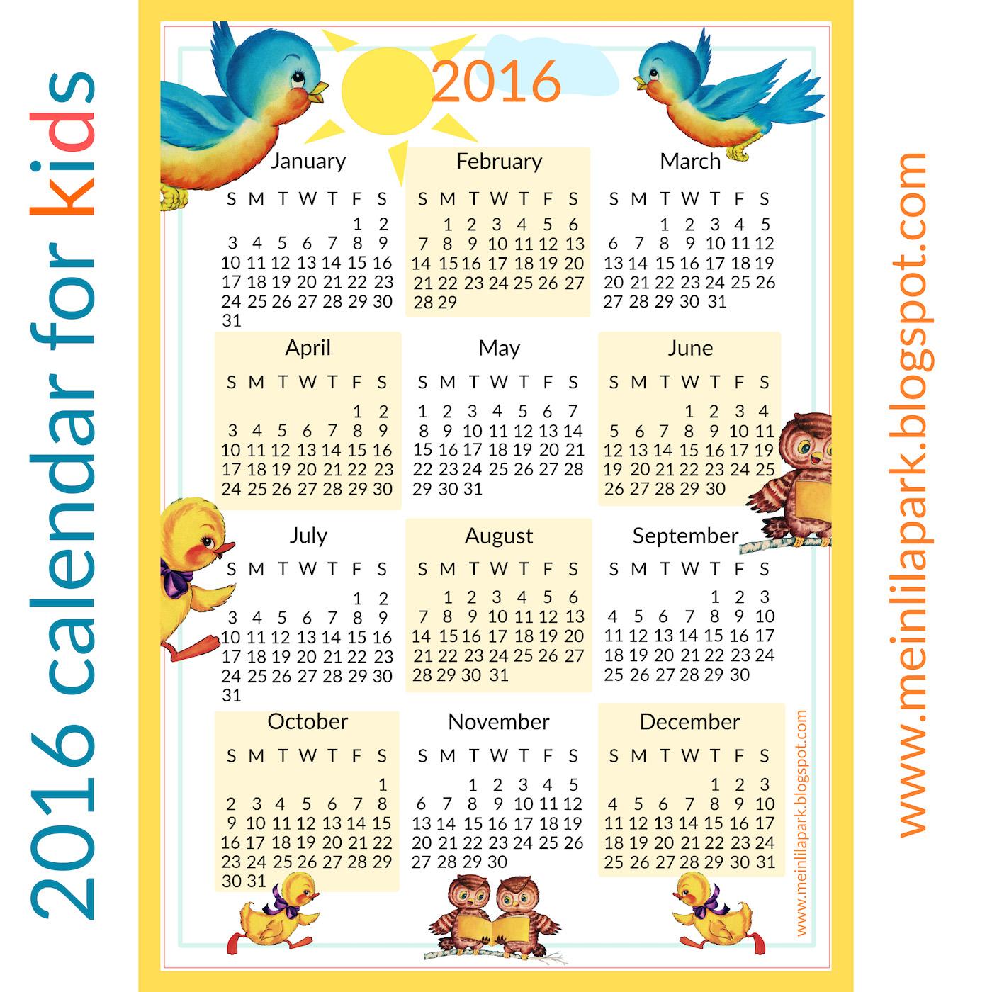 free printable 2016 calendar for you this time i made a calendar ...