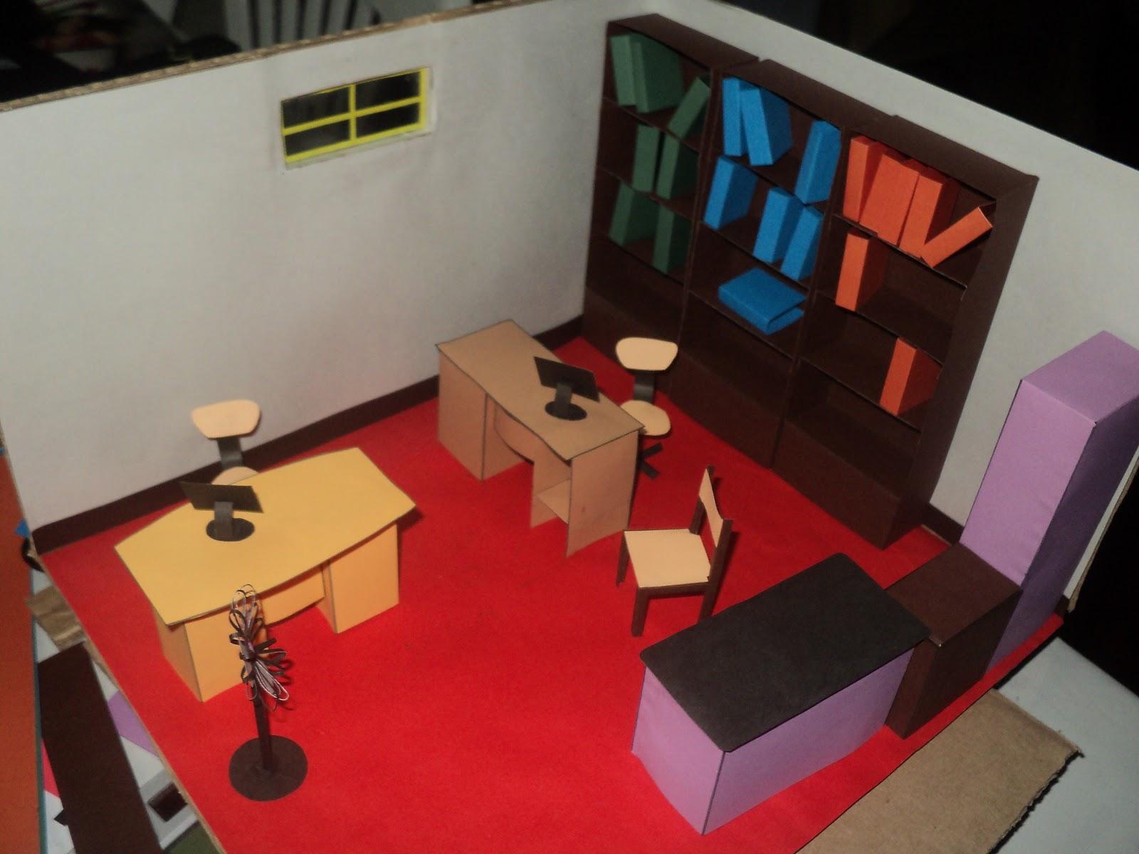 Maquetas creativas maqueta de una habitaci n hecho de for Como construir una oficina