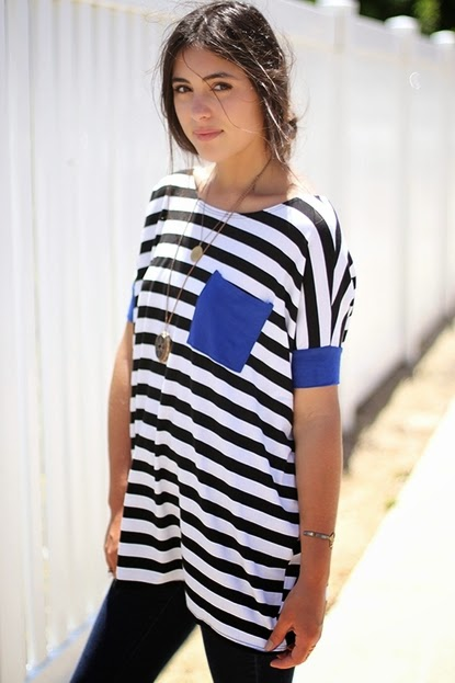 Buy online striped tunic top for women on sale at caralase.com