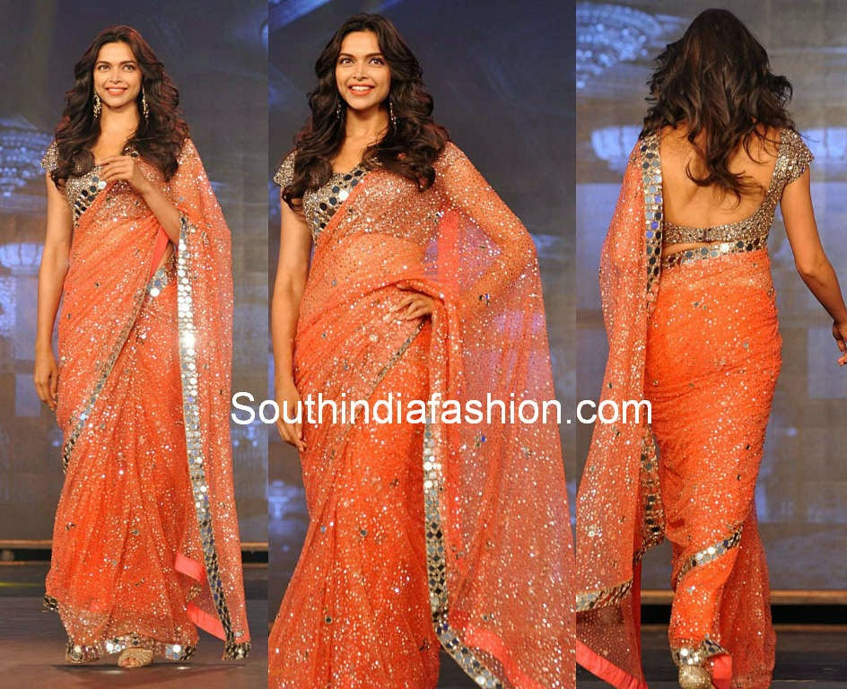 deepika padukone mirror work saree