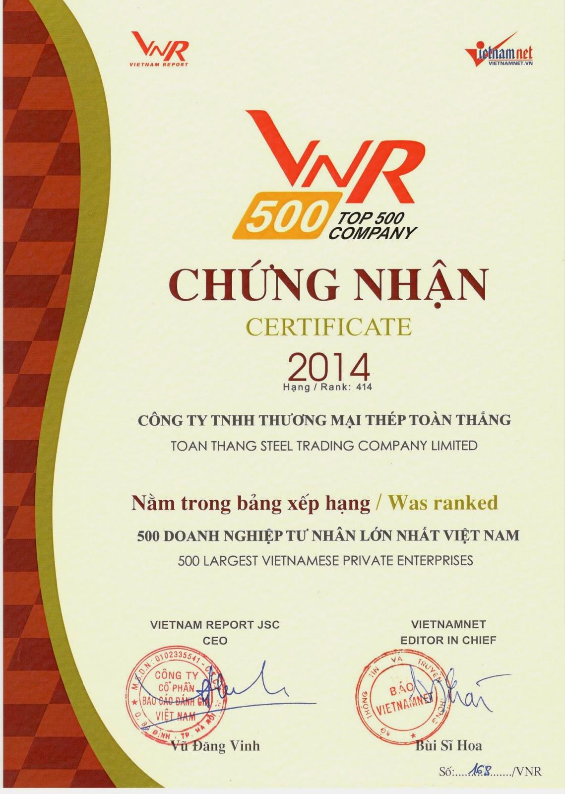Thép Toàn Thắng hạng 414 trên BXH 500 DNTN lớn nhất Việt Nam - VNR500 2014