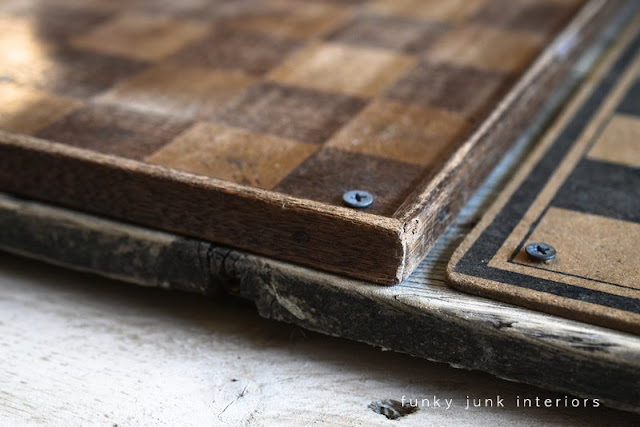 Funky checkerboard tray with vintage yardstick handles, via FunkyJunkInteriors.net