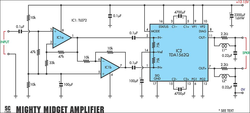 TDA1562Q Audio Power Amplifier 36 Watt Electronic Circuit