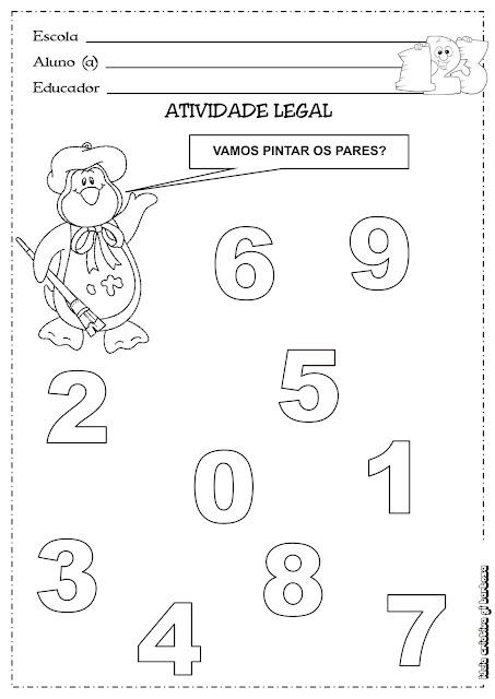 Atividade Números Pares Educação Infantil