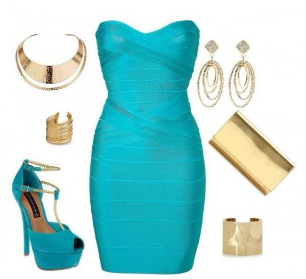 Blue dress, sandal and accessories for ladies