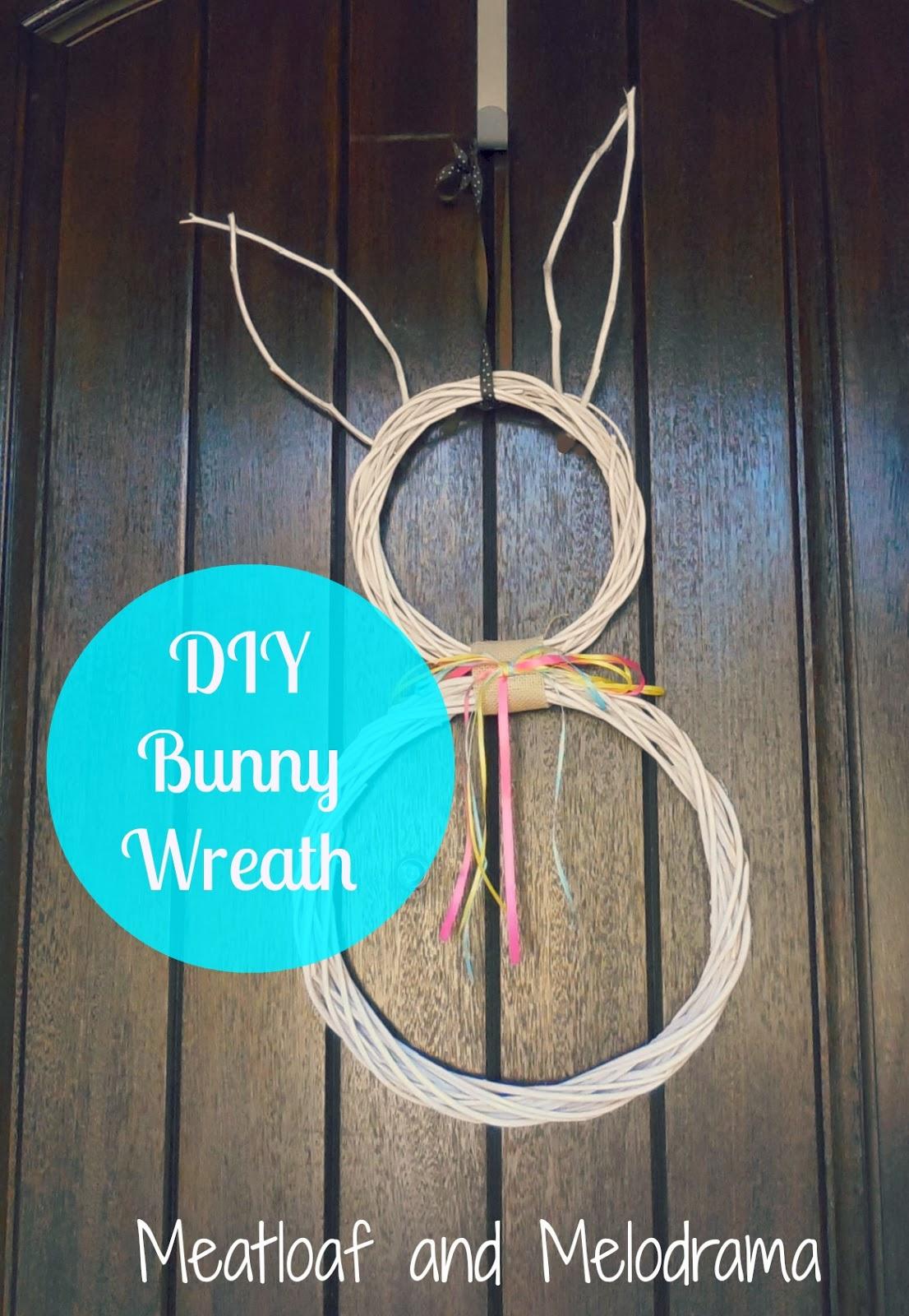 white bunny wreath, twigs, wreaths