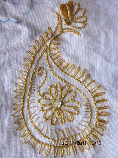 Creative hall embroidery mango or paisley motif