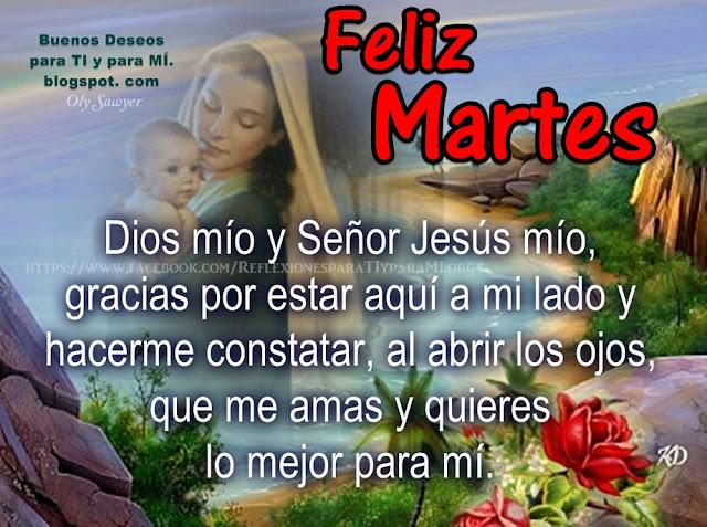 Dios mío y Señor Jesús mío, gracias por estar aquí a mi lado y hacerme constatar, al abrir los ojos, que me amas y quieres lo mejor para mí.