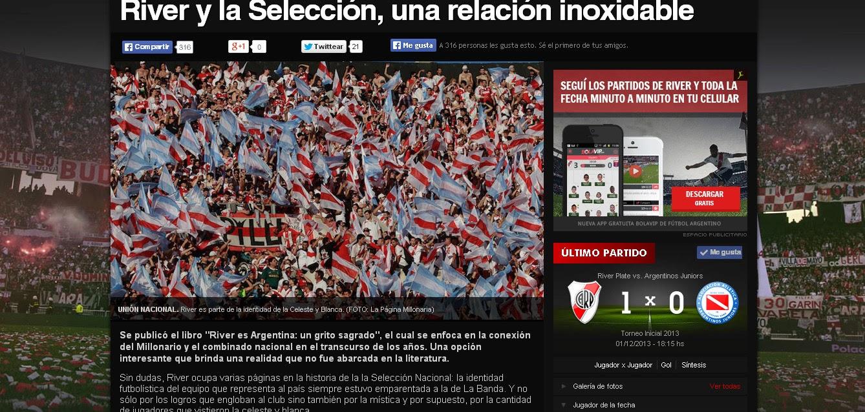 """2013: REFERENCIA EN """"LA PÁGINA MILLONARIA"""" de """"RIVER ES ARGENTINA..."""""""