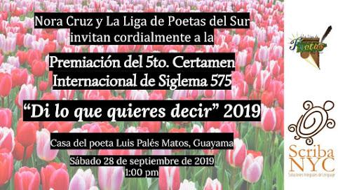 """PREMIACIÓN 5to. CERTAMEN INTERNACIONAL DE SIGLEMA 575 """"DI LO QUE QUIERES DECIR"""" 2019"""