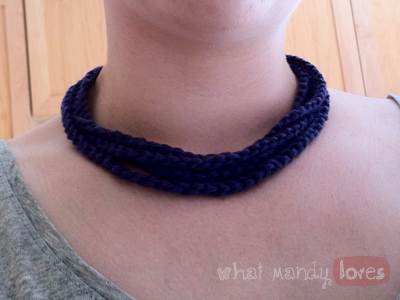 DIY Simple Crochet Chain Necklace via www.whatmandyloves.com