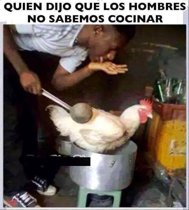 Los hombres cocinando