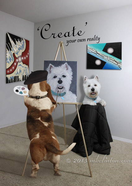 Bentley Basset creating a portrait of Pierre the Westie