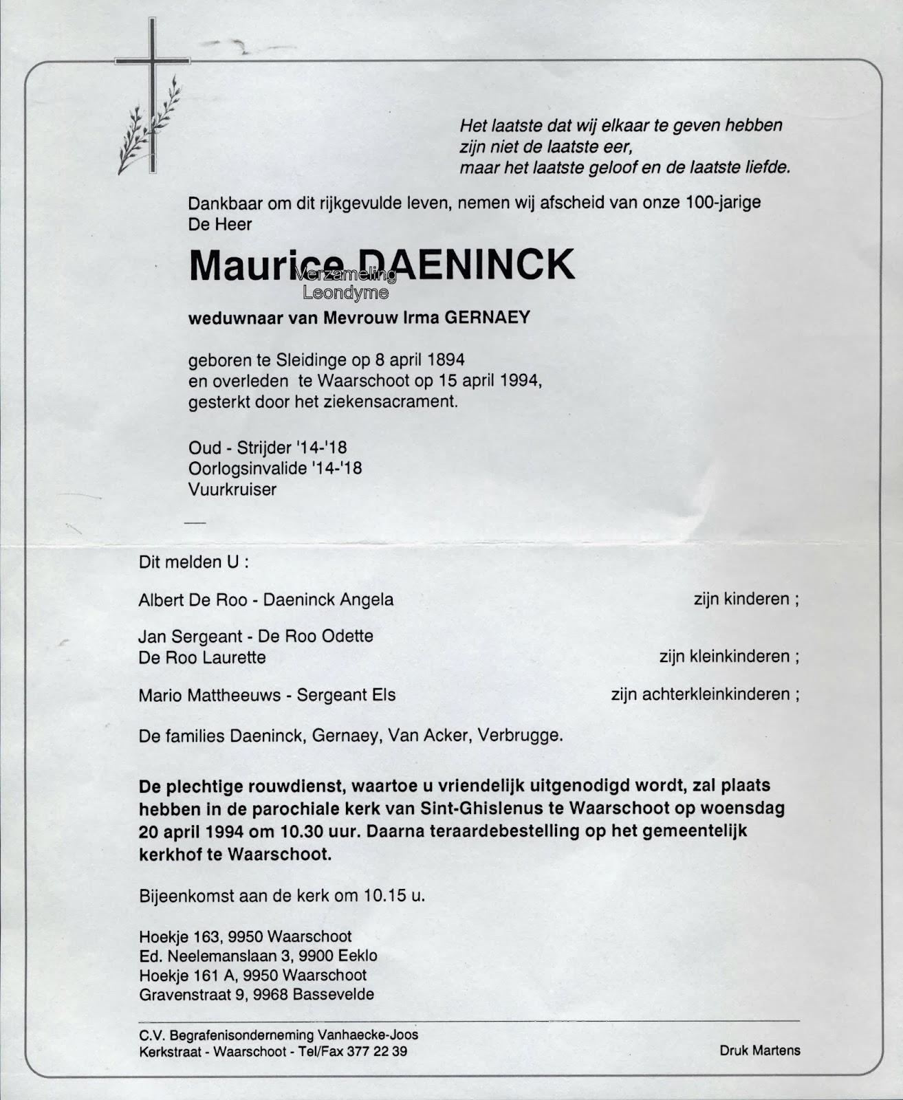 Rouwbrief Maurice Daeninck. Verzameling Leondyme.