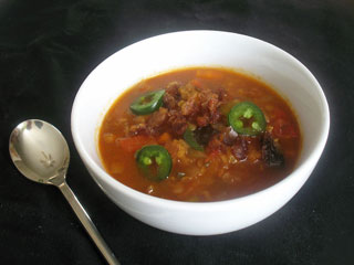 roasted red pepper soup with tomatoes and lentils