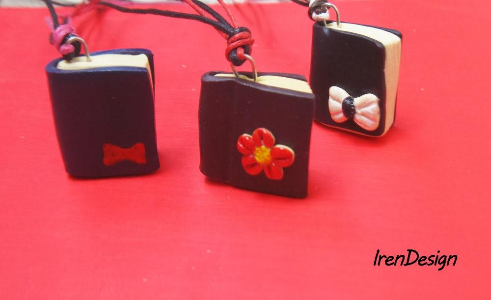 polymer clay book pendants
