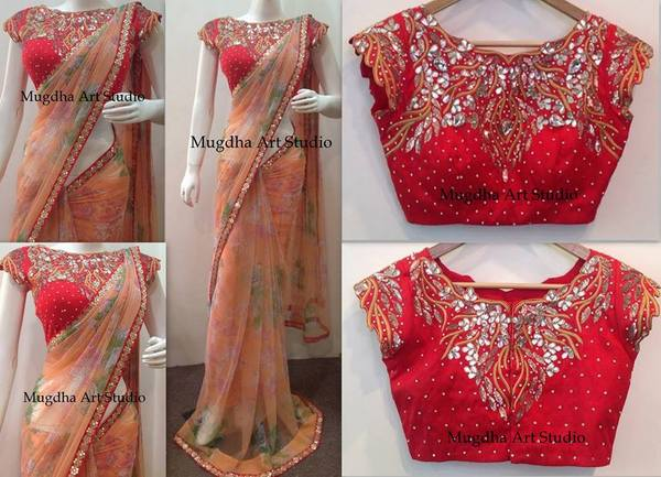 Peach Saree Red Mirror Blouse