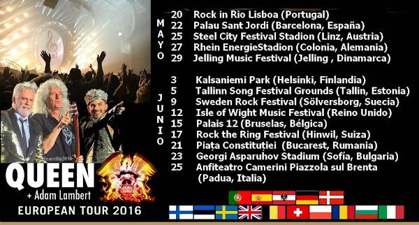 QUEEN + ADAM LAMBERT GIRA EUROPA 2016 JUNIO 3-25 ¡Conitinúa!