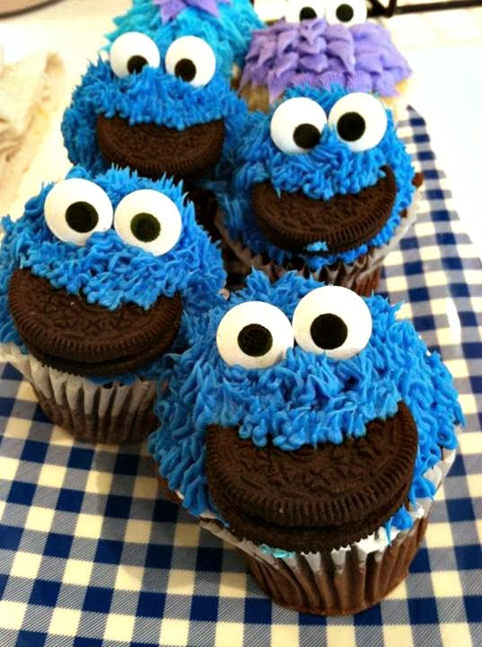 Cupcake Decorating Ideas For Guys : DIY Cookie Monster Cupcake Idea For Kids - Crafty Morning