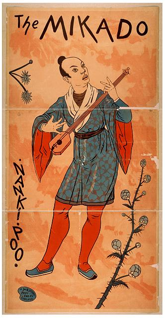 art, classic posters, free download, graphic design, movies, retro prints, theater, vintage, vintage posters, The Mikado Nanki Poo - Vintage Theater Poster
