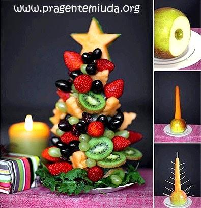 Passo a passo de árvore de natal feita com frutas