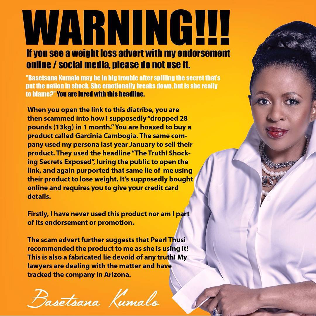 BASETSANA KUMALO WARNS AGAINST WEIGHT-LOSS SCAM Nobody can ...