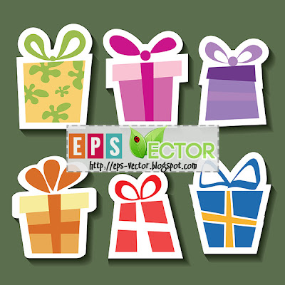 [Vector] - Abstract gift sticker set
