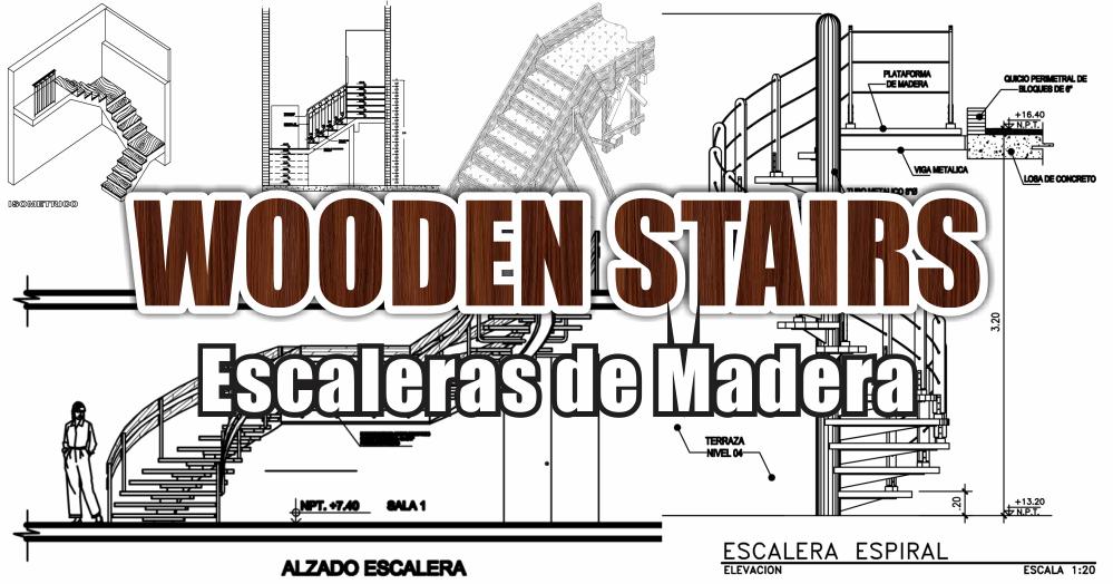 Zent design 2d escaleras de madera planos for Planos de escaleras de madera