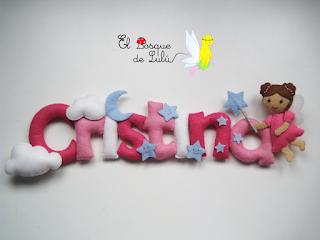 nombre-fieltro-decoración-infantil-hechoamanoparati-elbosquedelulu-regalo-personalizado-name-banner-Cristina-hada-estrellas-decoración-infantil-niña