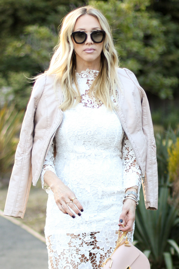 light pink coat white crochet dress