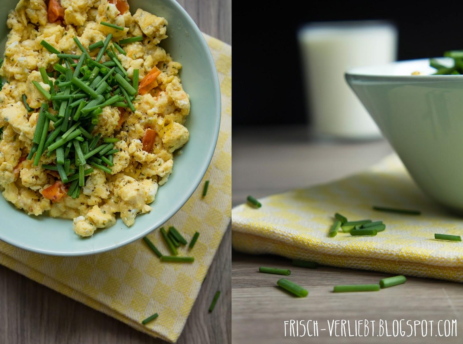 Herzhaftes Frühstück | Curry-Käse-Rührei mit getrockneten Tomaten ...