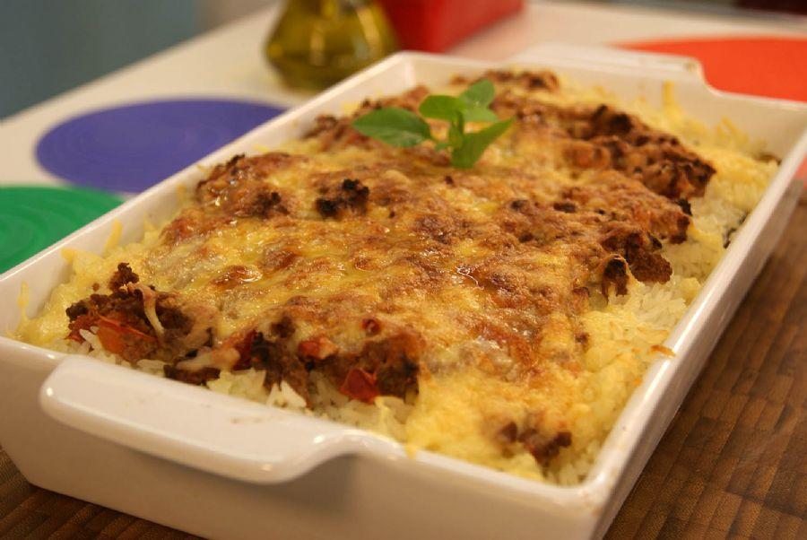 Receita de Arroz de Forno com Berinjela e Carne Moída