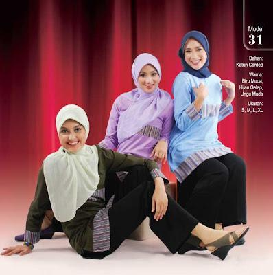 Busana Muslim Qirani Biru muda Hijau gelap Ungu muda