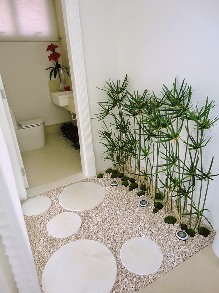 Construindo Minha Casa Clean Jardim de Inverno Permanente! Com Plantas Artif -> Banheiro Decorado Com Planta Artificial