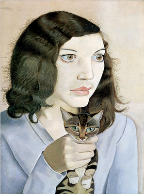 Painting, artwork, Girl with a kitten, Lucian Freud, contemporary art