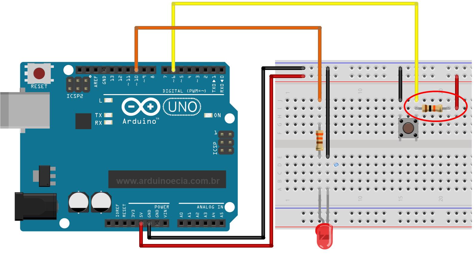Circuito com resistor de elevação / pull-up