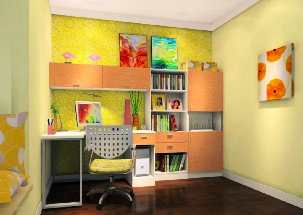 Simple Study Room Design Ideas For Kids Combined With Bedroom Home