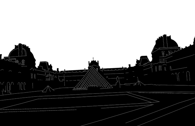 silhouette of the Louvre Museum in Paris