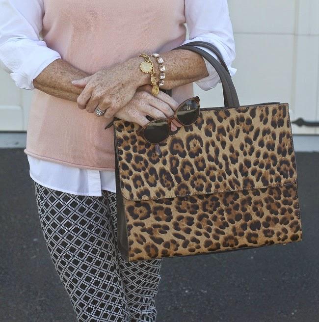 jcrew cashmere tee, boden leopard handbag, elizabeth and james sunglasses, julie vos coin bracelet