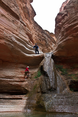 Kelly Bergdolt and Jed Policky working their way up Olo Canyon, Grand Canyon COlorado, Chris Baer