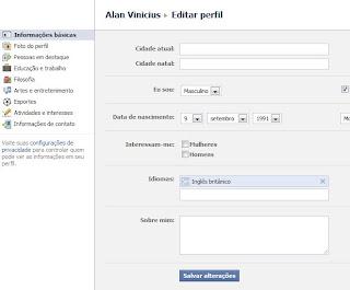 adicionando informações no Facebook