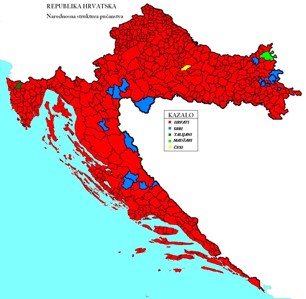 Etnicka Karta Hrvatske 2011 Ethnicka Mapa Hrvatske