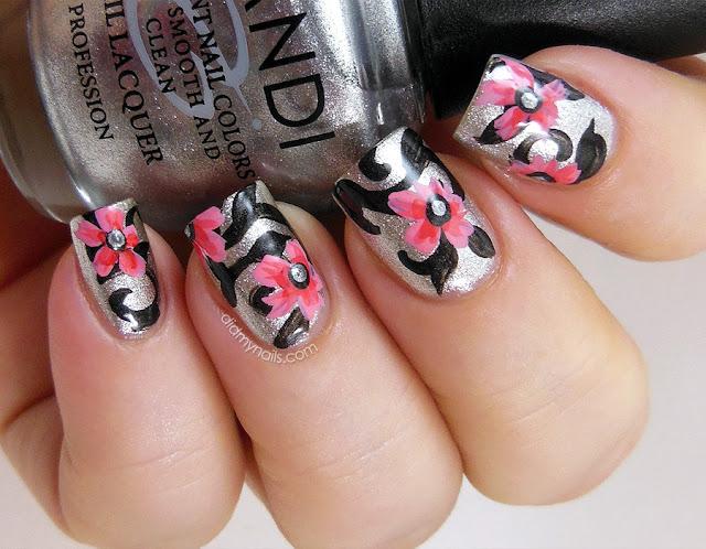 pink flower nail art
