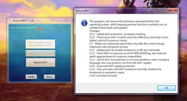 Windows 7 Genuine Activation RemoveWAT 2.2.6.0 NLT-Release Removing