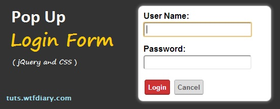 Popup Login Form using jquery and CSS
