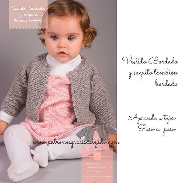Bebé / Hermoso conjunto vestido y saquito bordados - paso a paso ...