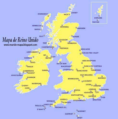 Mapa de Reino Unido Geografi Político