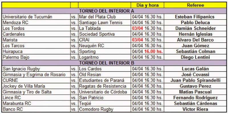 Designaciones de referees y horarios para el Torneo del Interior
